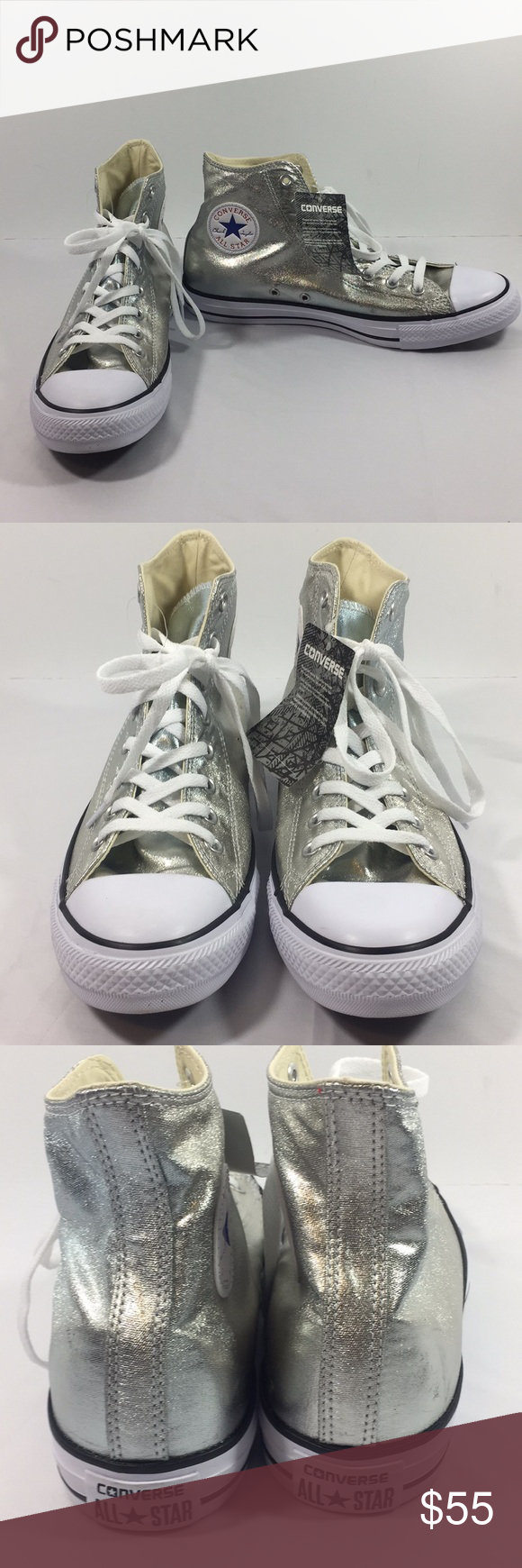 silver Converse high tops NWT Converse