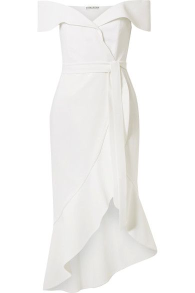 c02aa274442 Alice + Olivia - Josie off-the-shoulder wrap-effect crepe dress in ...