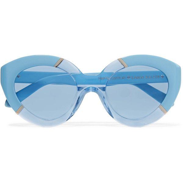 0f61a5b4d937 Karen Walker - Poolside Flowerpatch Cat-eye Acetate Sunglasses (105 CHF) ❤  liked on Polyvore featuring accessories, eyewear, sunglasses, glasses, sky  blue, ...
