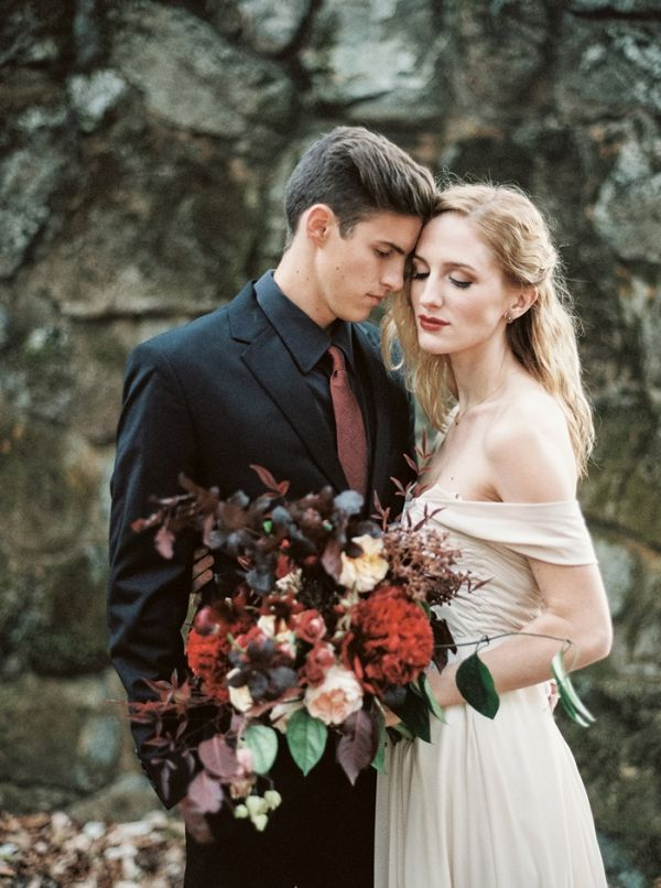 Romantic Mountain Wedding Portraits with a Blush Wedding Dress | Taralynn Lawton Photography | http://heyweddinglady.com/moody-dark-fairy-tale-wedding-shoot-mountains/