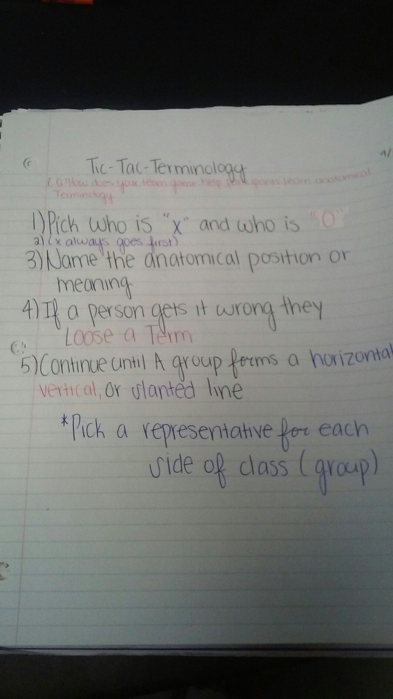 Instructions for our game Tic-Tac- Terminology | Anatomy ...