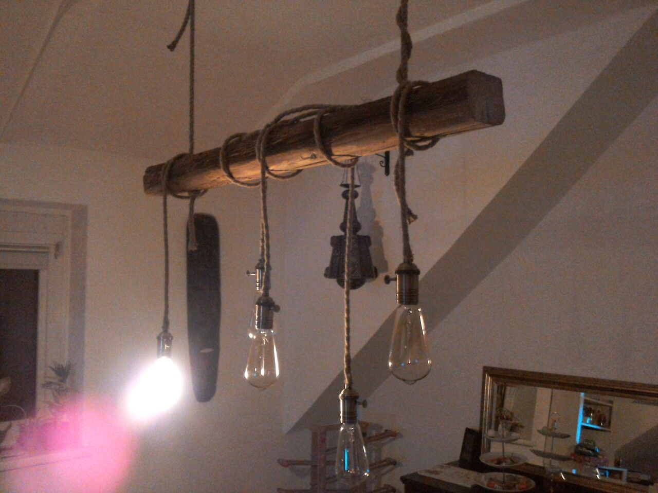 Diy Balkenlampe Alter Balken Edison Gluhbirnen Textilkabel