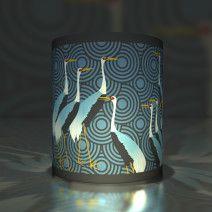 5 grafische Transparentlichter mit japanischen Kranichen, blau