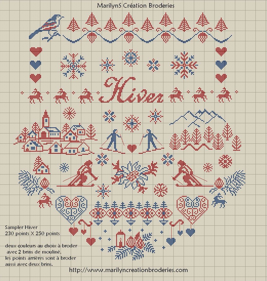 Hiver Sampler, free chart by Les Broderies de Marilyn | ricamo ...