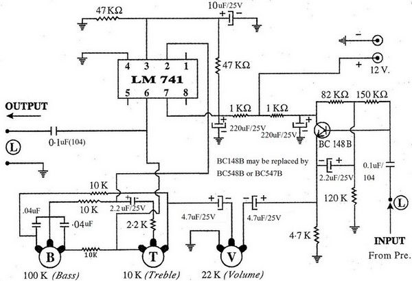low cost bass treble controller using op amp 741 diy electronics projects electr nica. Black Bedroom Furniture Sets. Home Design Ideas