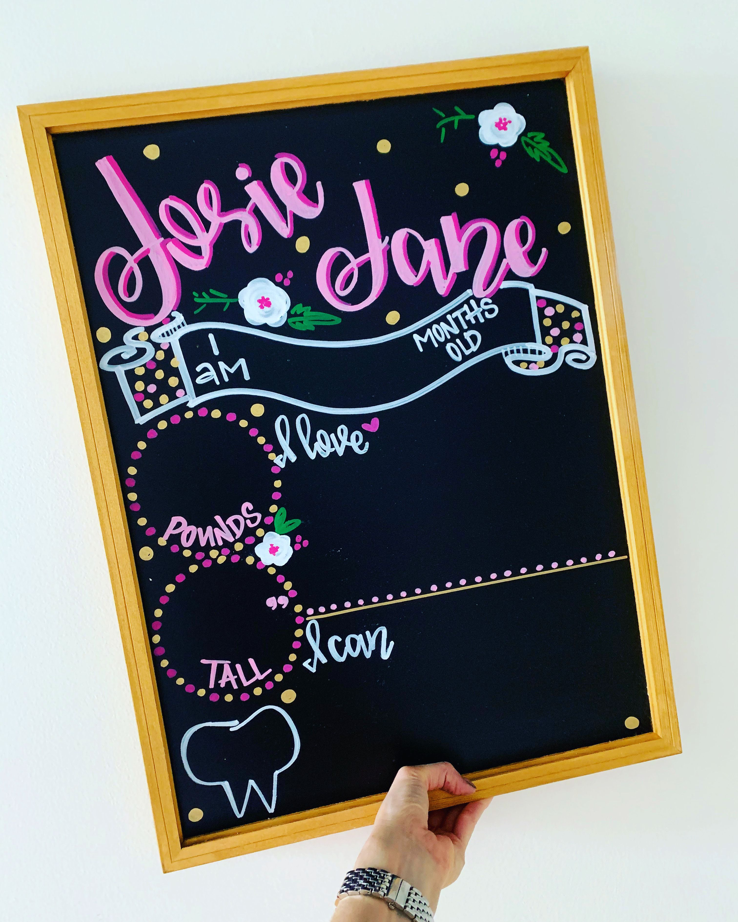 Baby Milestone Chalkboard Personalized Month By Month