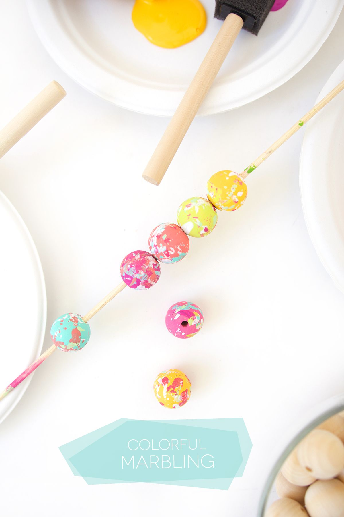 How to Paint Wooden Beads #marblepainting