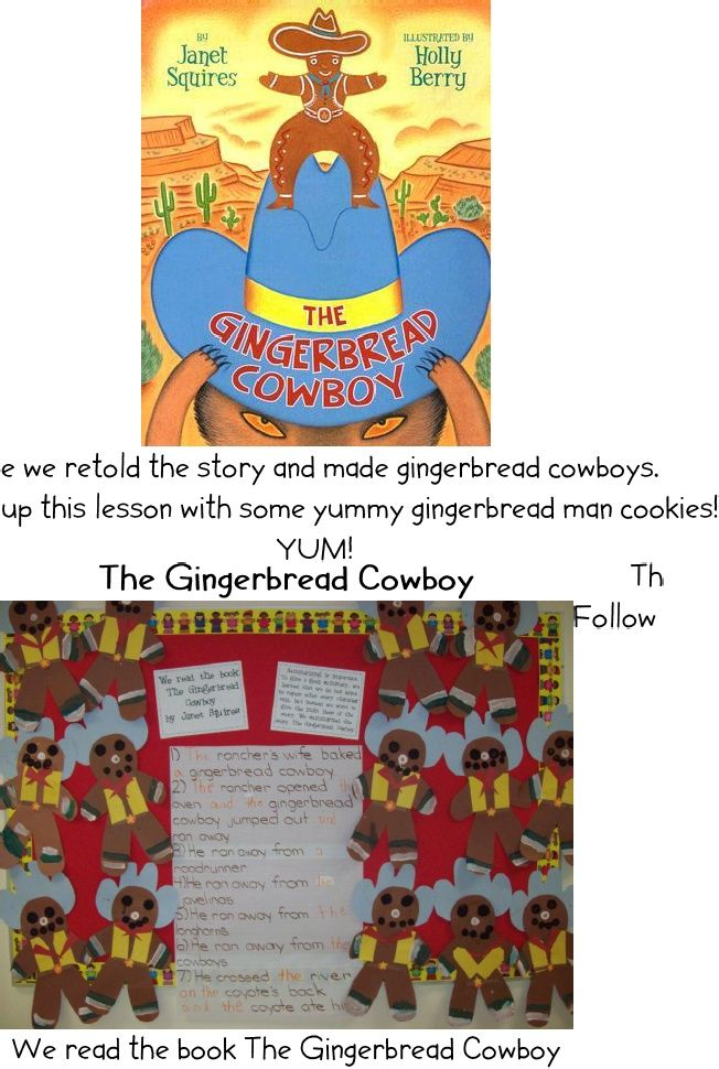 Texas Unit, book Gingerbread Cowboy Texas theme, School