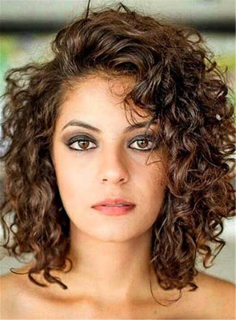 Mid-Length Human Hair Side Swept Bangs Curly Lace Front Wigs 10