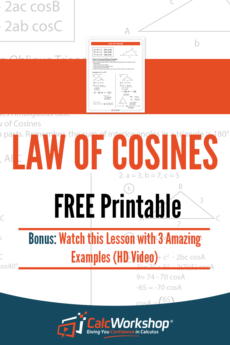 Law Of Cosines PDF Free Printable Which Includes The Formula Detailed Steps To Solve Oblique Triangles And 2 Practice Problems