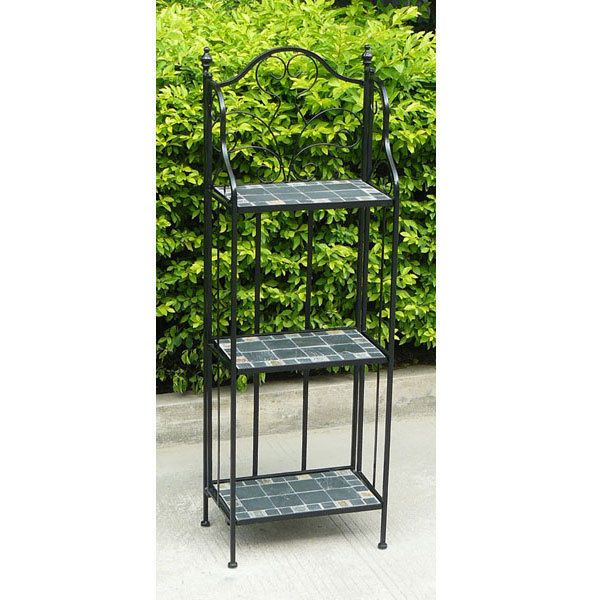 Marvelous Bentley Garden Wrought Iron 3 Tier Plant Rack With Blue Mosaic Plant Pot  Stand