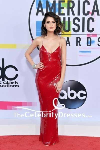 Laura Marano Red Sequins Spaghetti Strap Slip Evening Dress 2017 American Music Awards Tcd7594 American Music Awards 2017 Laura Marano American Music Awards