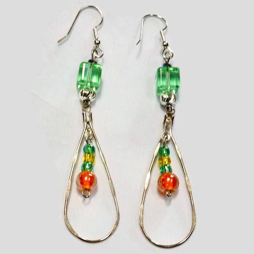 106833102 Hoop Earrings with Glass Beads,Glass Bead Earrings,Cube Beads Earrings,Green  Bead Earrings,Orange Glass Beads,Silver Hoop Earrings,oval hoop by ...
