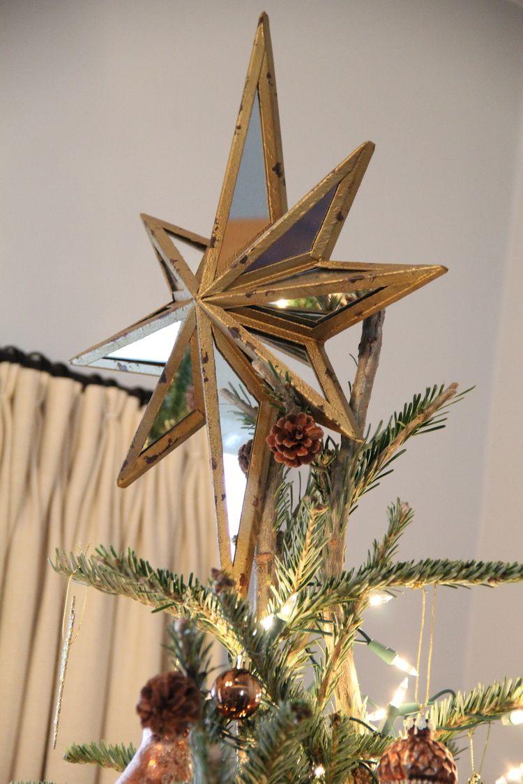 e85a94ea0e0e5 Pottery Barn Metallic Mirrored Star Tree Topper