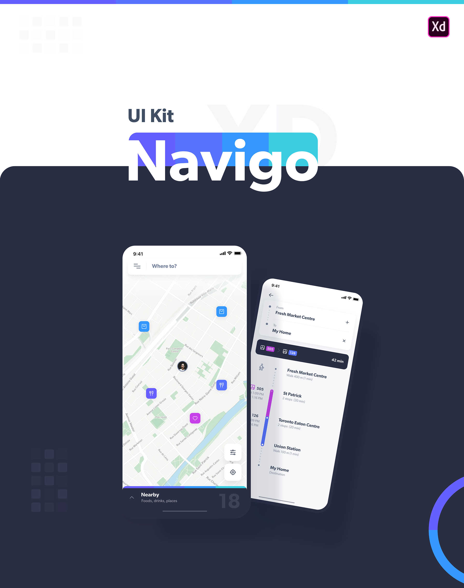 Navigo Transportation UI Kit FREE for Adobe XD on Behance | Apps