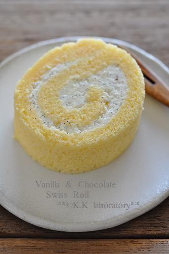 ホワイトチョコとバニラのロールケーキ - こなこな研究室