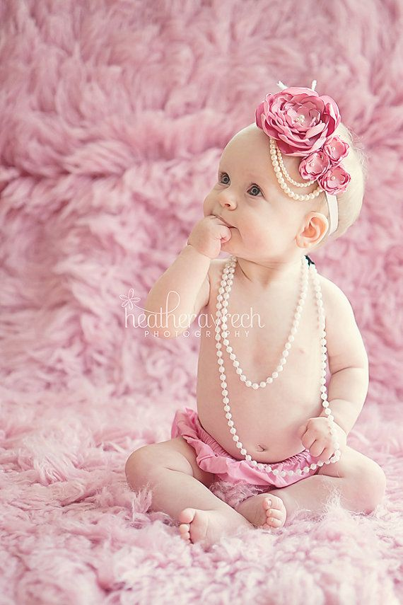 Rose Pink 1920s Style Headband/ Baby Headband/ Vintage Inspired/ Photo Prop/ Wedding/ Draping Pearls
