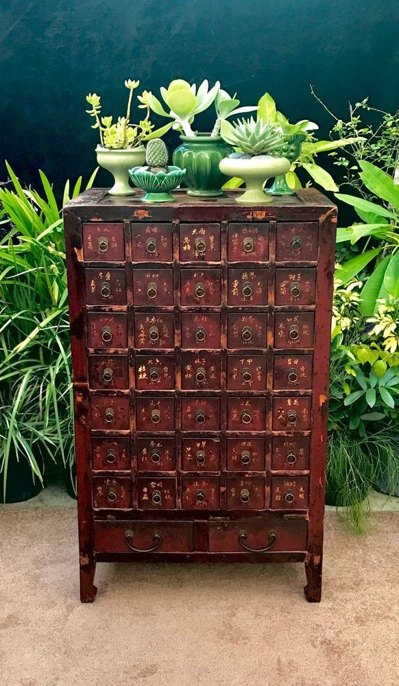 Antique Chinese Apothecary Cabinet Doctors Herb Medicine 37 Drawers