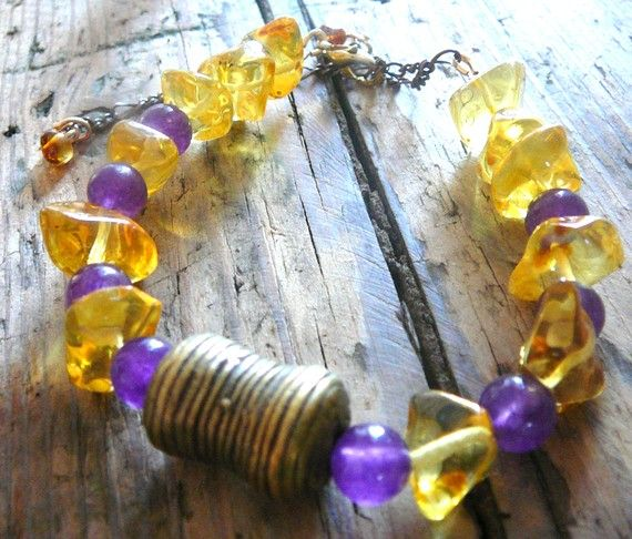 Love Shines   Bracelet / Amber and Amethyst by EarthLifeShop, $59.00