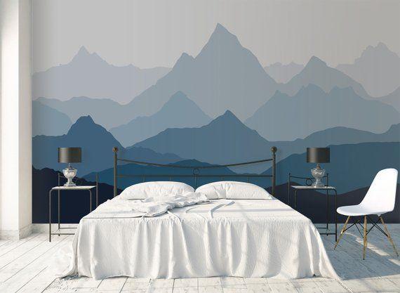 2020 的 Ombre mountains mural removable wallpaper geometry