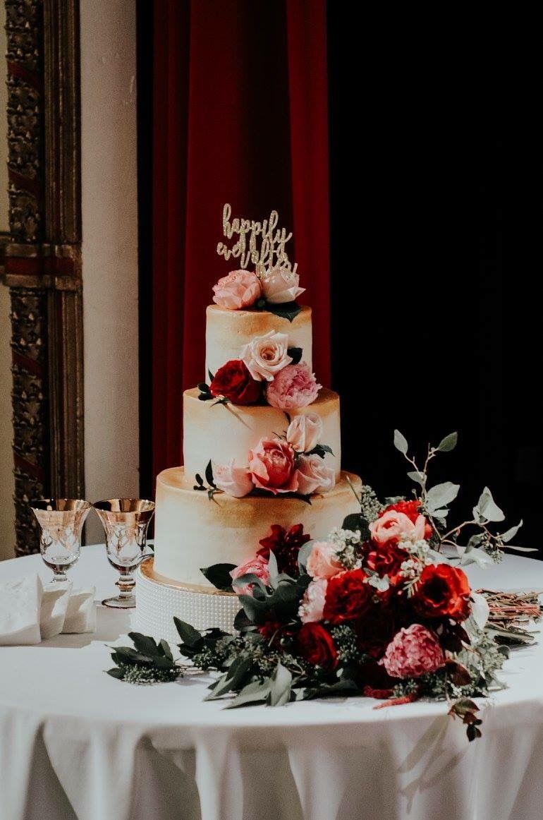 Floral And Gold Wedding Cake Pensacola Florida Kates Cakes Weddingcake
