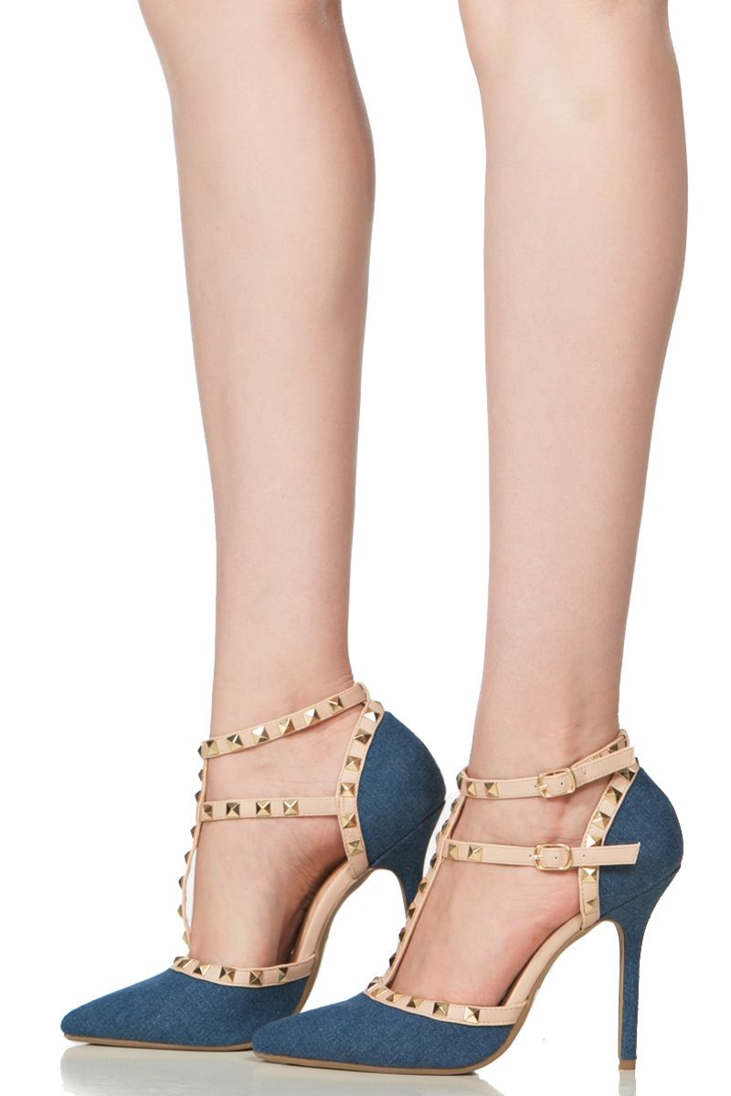Denim Studded Pointed Toe Single Sole Heels @ Cicihot Heel Shoes ...