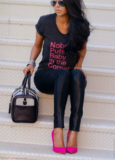 tee and bright pumps