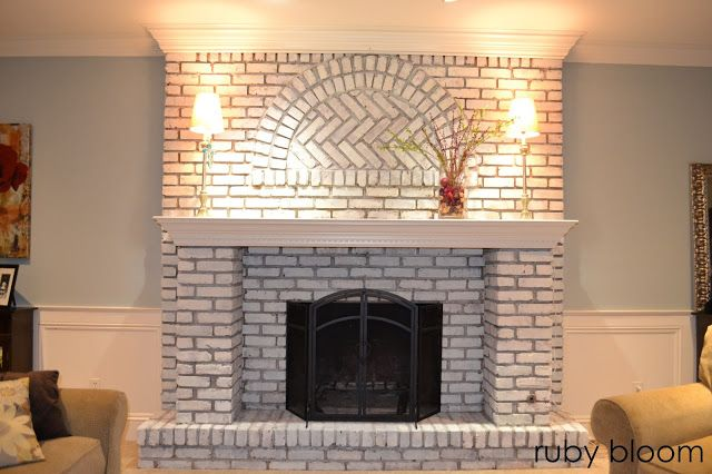 HOW TO WHITEWASH BRICK Painted brick fireplace, whitewashed brick fireplace, DIY painted brick fireplace, by ruby bloom