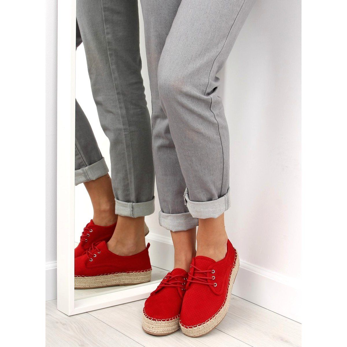Trampki Na Koturnie Czerwone Nb168 Sneakers Shoes Fashion