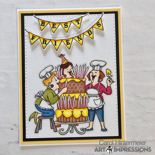 Art Impressions Big Birthday Wishes Set Rectangle A2 Double Stitched Dies Handmade Girlfriends Card