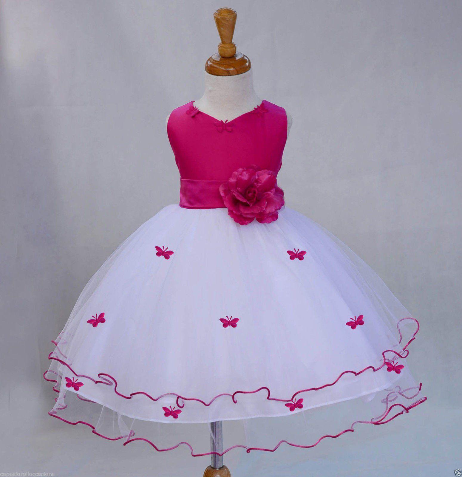 1956761757 Butterflies Rattail Edge Flower Girl Dress Wedding Pageant Toddler ...
