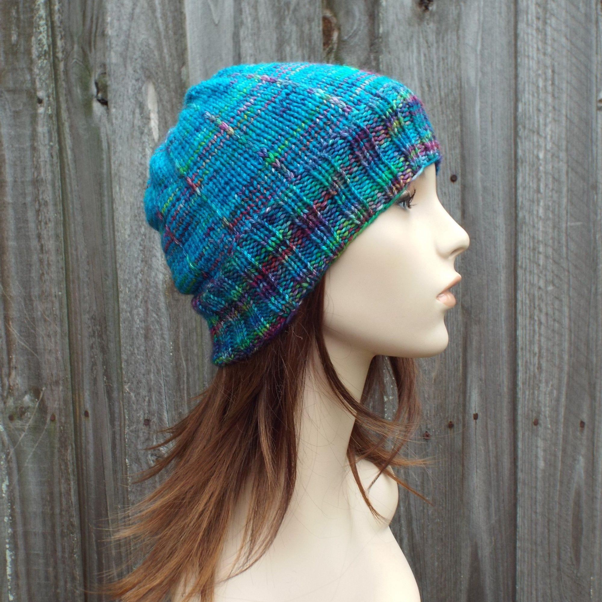 Knit Hat Womens Hat - Rainbow Blue Beanie Blue Hat - One ...