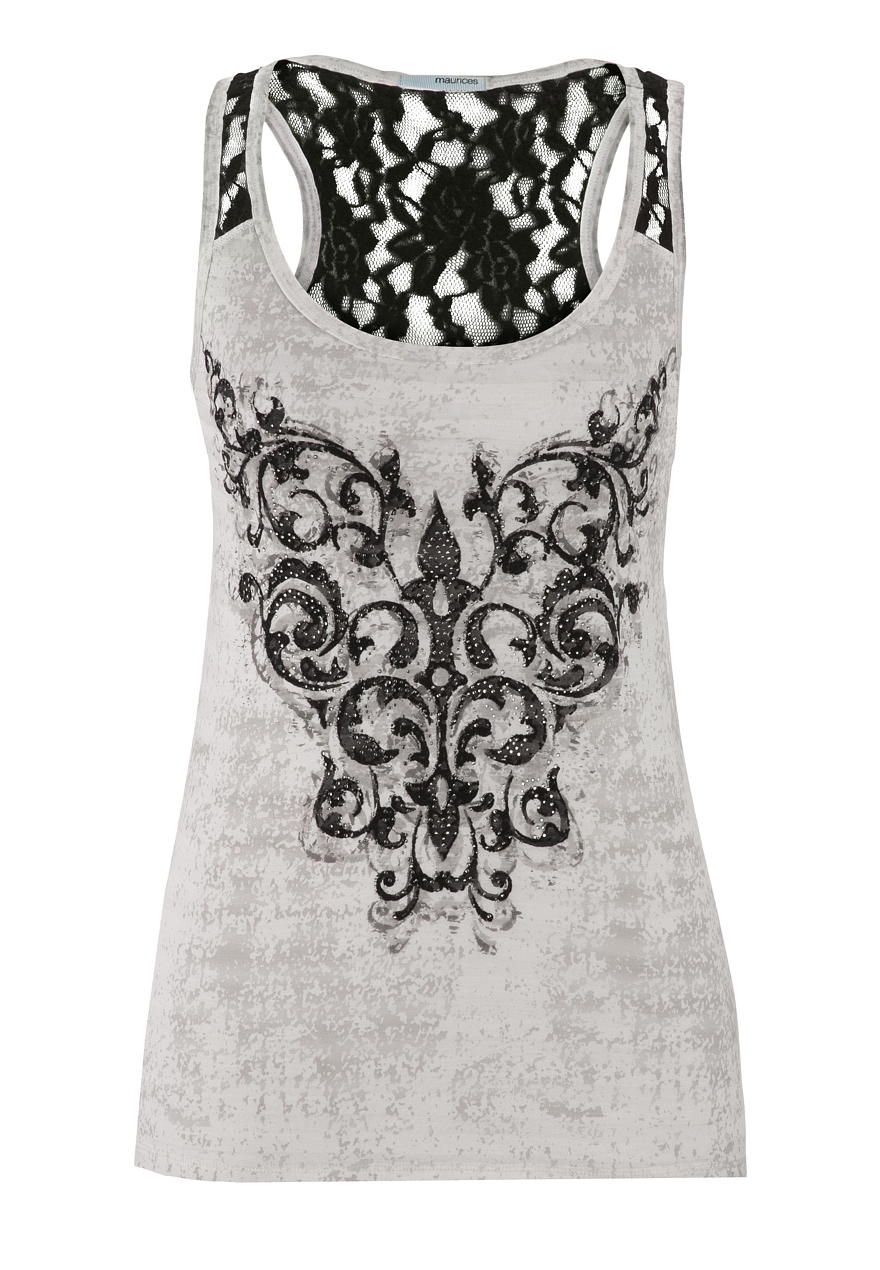 graphic tank with rhinestones and lace - maurices.com