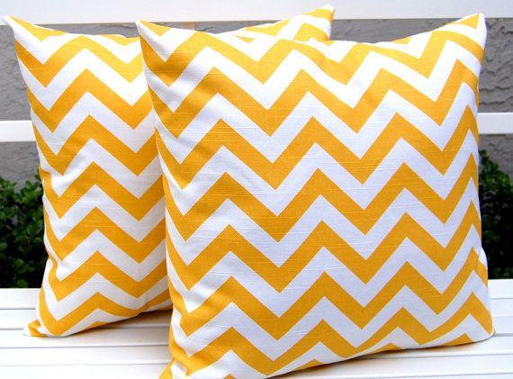 Throw Pillows Chevron PIllows Pillow Cover White and Yellow Zig Zag 16 x 16 Inches Corn Yellow and White Zig Zag. $30.00, via Etsy.