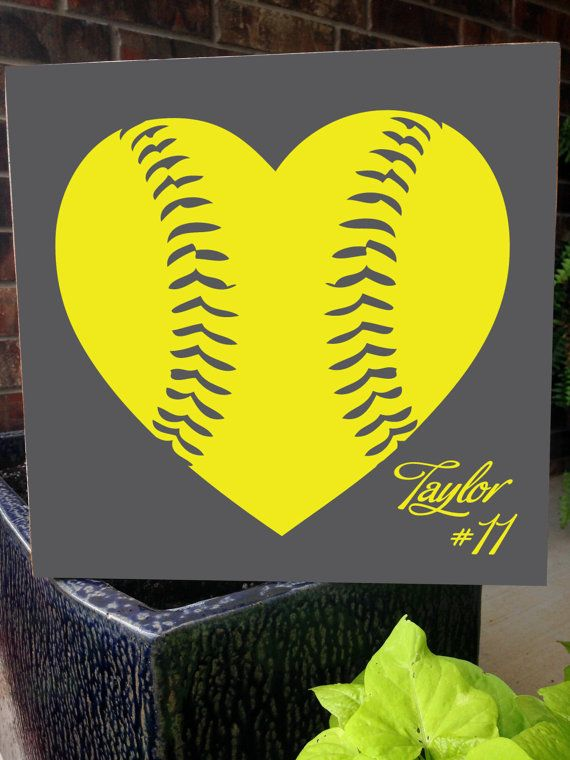Custom Wood Sign -Softball / Baseball Heart Personalized- Hand ...