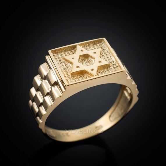 37e11babf649e Gold Star of David Men's Ring. Rolex Style Band (10k, 14k, yellow ...