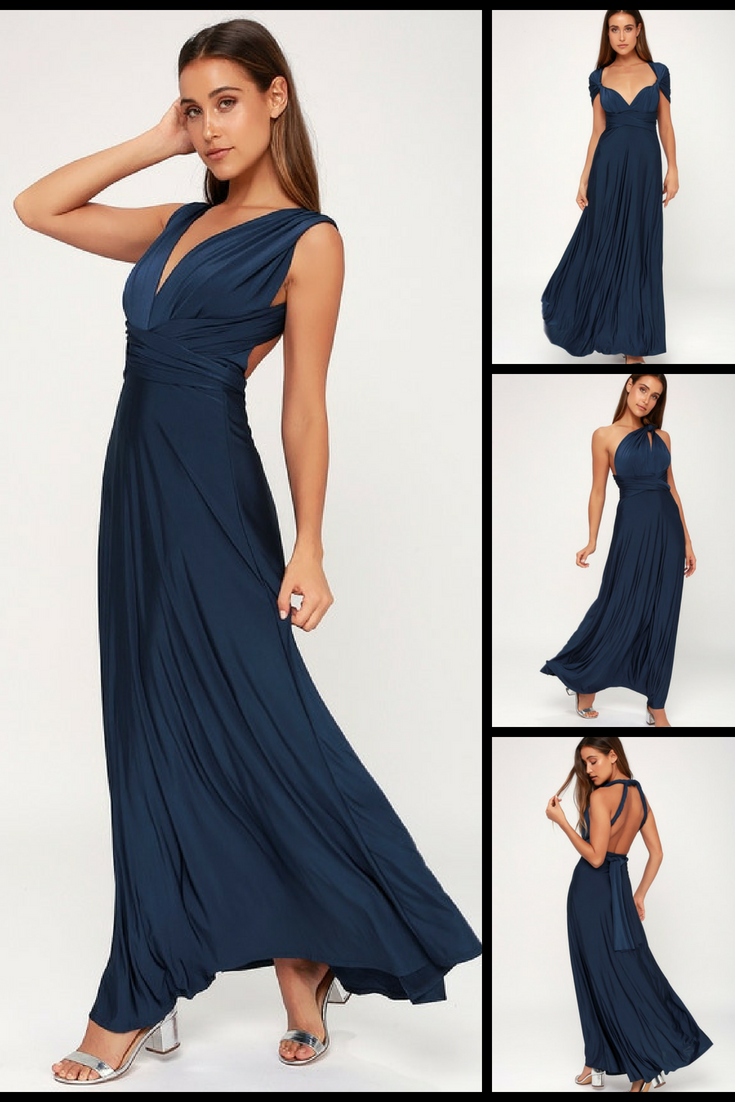 Always stunning convertible navy blue maxi dress any which way you