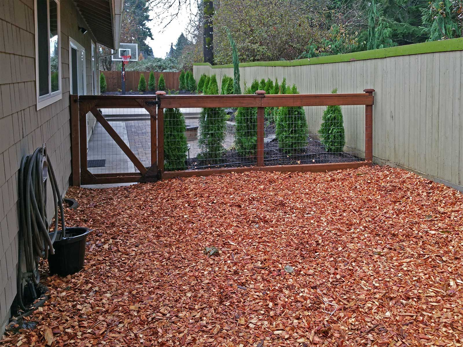 The dogs now have a safe and secure area to play outside. This ... Kid Friendly Backyard Without Gr on