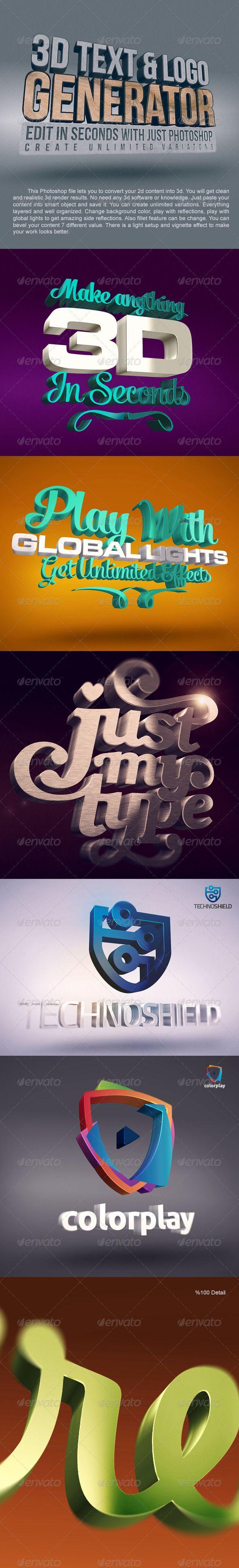 3D Text Logo Generator 1   3D Typography   3d text, Text