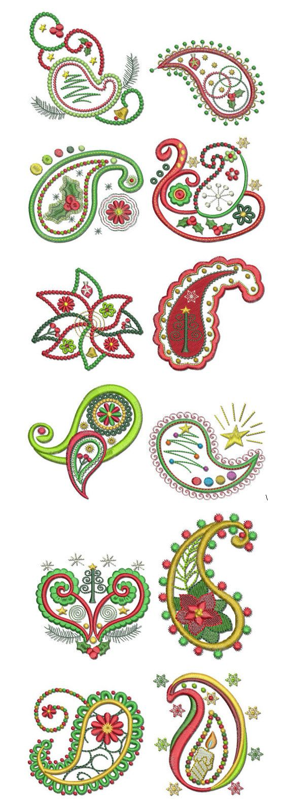 A very paisley christmas machine embroidery designs