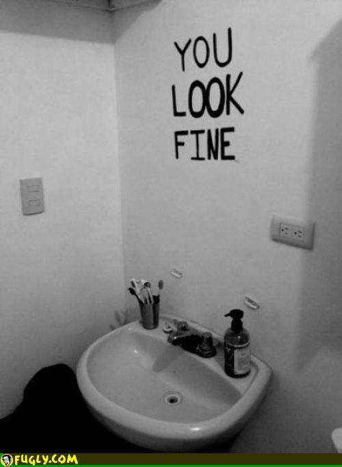 Bathroom Mirror You Look Fine bathroom no mirror you look fine | wordy mcwords | pinterest