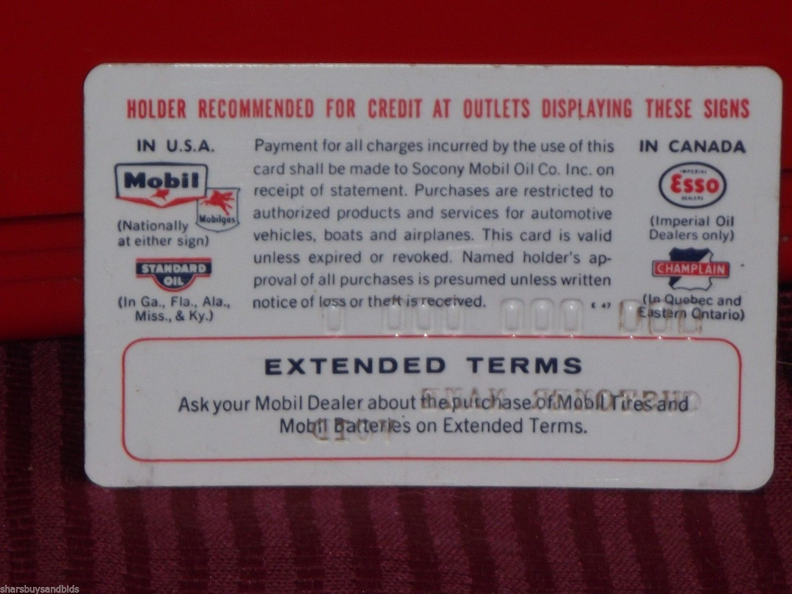 vintage 1959 socony mobil gas station credit card imprinter