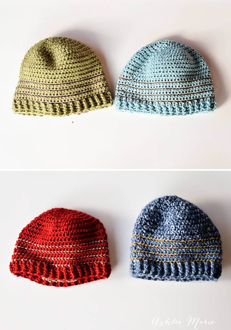 Goes with beard) free pattern, multiple sizes striped crochet beanie ...
