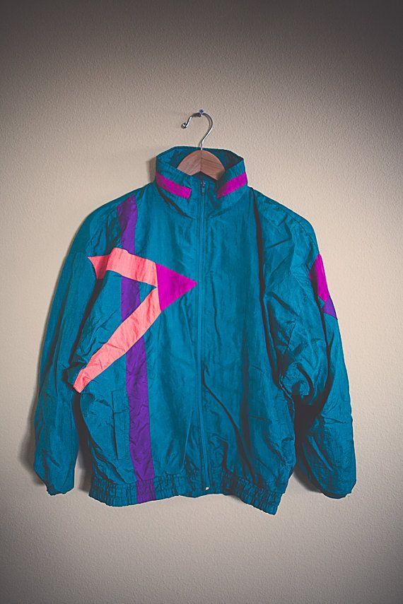 d305b73dc 90's 80's Teal Orange Magenta Neon Windbreaker Oversized Nylon Wind Breaker  Jacket Coat Size Small
