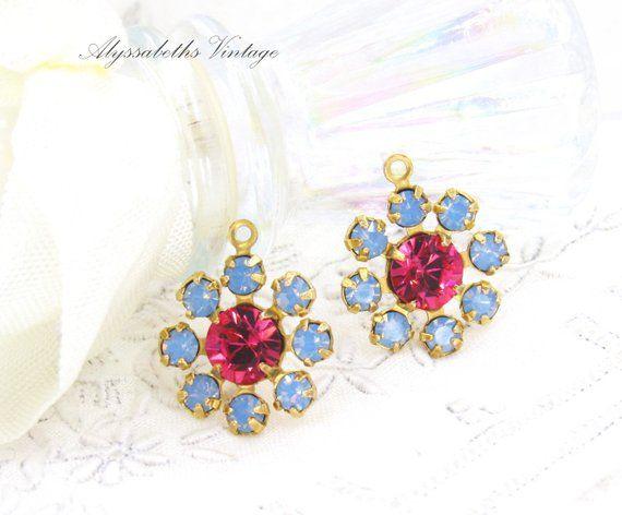 bc2fe4d58 Swarovski Indian Pink & Air Blue Opal Rhinestone Daisy Flower Charm Pendant  1 Ring Brass, Antique Brass or Silver Ox 15mm Round – 2