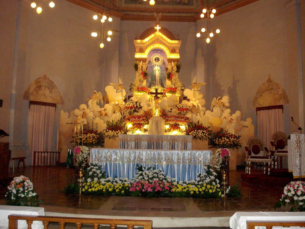 The altar of dauis church decorated for the solemnity of for Altar decoration ideas
