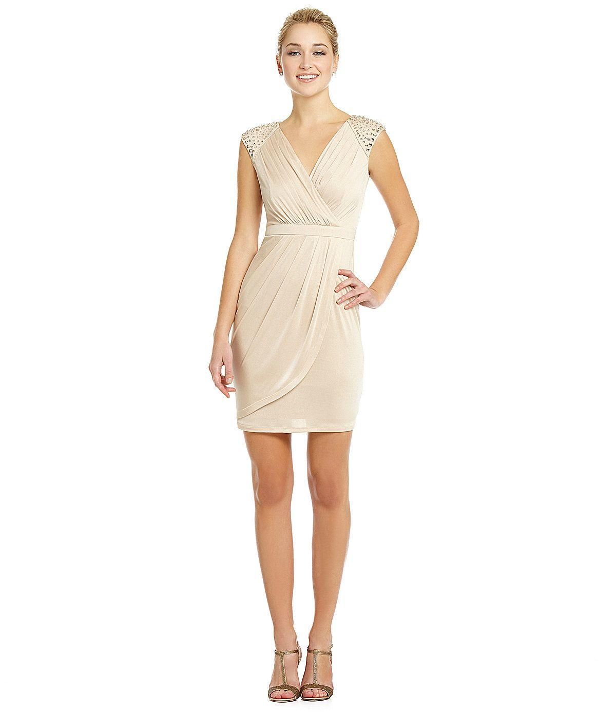 Wedding dresses dillards  Vince Camuto EmbellishedShoulder Dress  Dillards   Nancyus