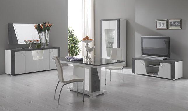 S jour italien design blanc et gris ascot http www for Meuble sejour complet