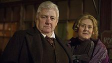 Pictures from the set of The Paradise - Peter Wight playing Edmund and Sarah Lancashire playing Miss Audrey.