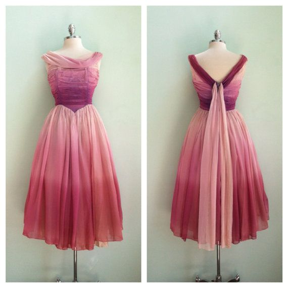 50s Party Dress / Purple Ombre Silk Chiffon 1950s Vintage Prom Dress ...